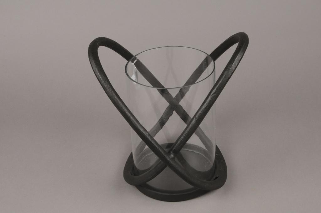 A015KU Black metal light holder H28.5cm