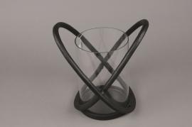 A015KU Photophore en métal noir H28.5cm