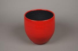 A015LE Cache-pot céramique rouge D24cm H25cm