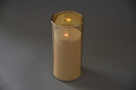 A015O7 Amber glass tealight Led candle D8cm H18cm