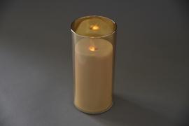 A015O7 Photophore ambre bougie LED D8cm H18cm