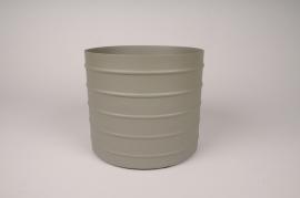 A015U9 Cache-pot en métal vert kaki D20.5cm H18cm