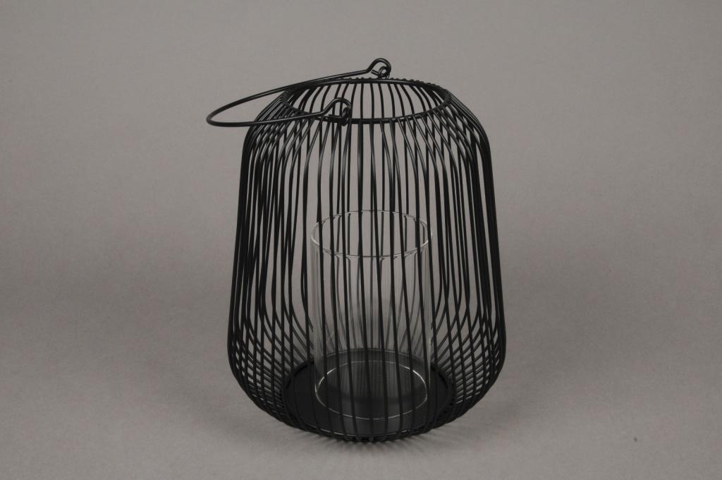A015UO Photophore en métal noir D18cm H20cm