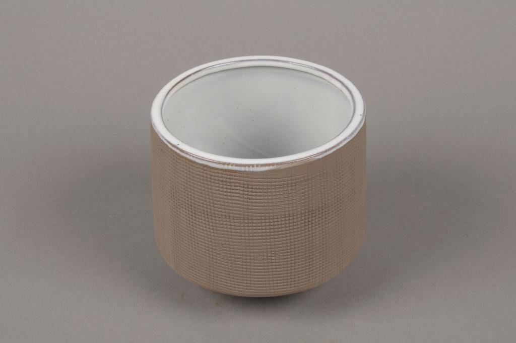 A015W5 Cache-pot en grès taupe D15.5cm H17cm