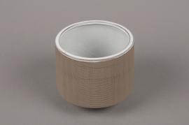 A015W5 Brown stoneware vase D15.5cm H17cm