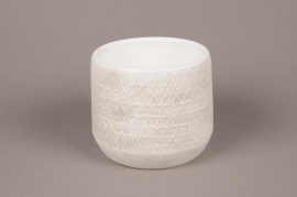 A015Y8 White concrete pot holder D15.5cm H13cm