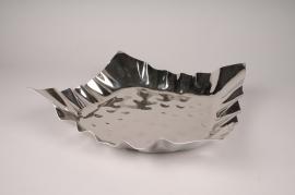 A015YY Plateau en métal argent D37cm H10.5cm