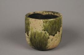 A015ZH Cache-pot en céramique vert D18cm H16cm