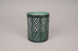 A015ZN Photophore en métal vert D10.5cm H12.5cm