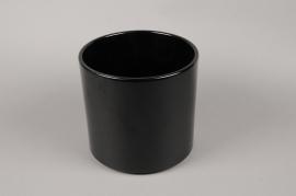 A016A8 Cache-pot en céramique noir D19.5cm H18cm