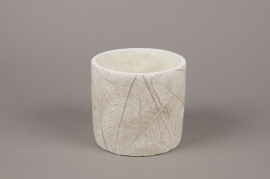 A016AC Cache-pot en béton feuillage blanc D14cm H13cm