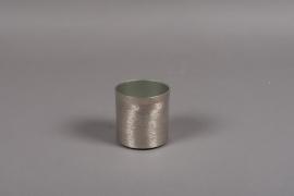 A016E5 Pot en métal brossé argent D8cm H8cm