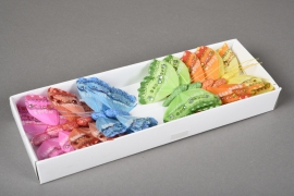 A016E9 Boîte de 12 pics papillons en plume D8cm