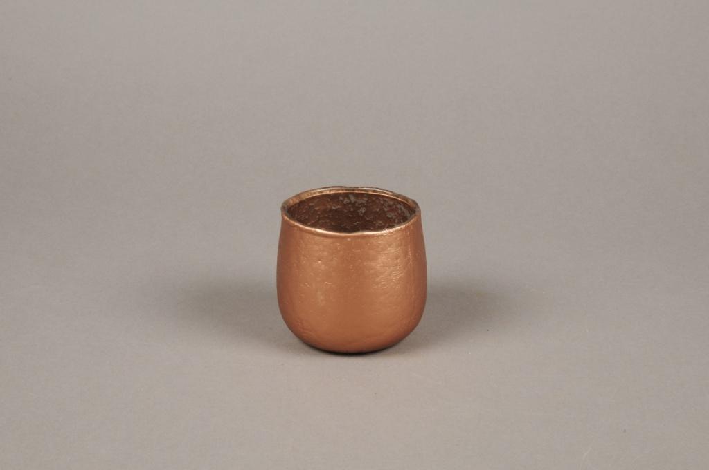 A016G2 Photophore en verre cuivre D7cm H7cm