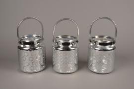 A016G9 Lanterne en verre argenté D14cm H17cm