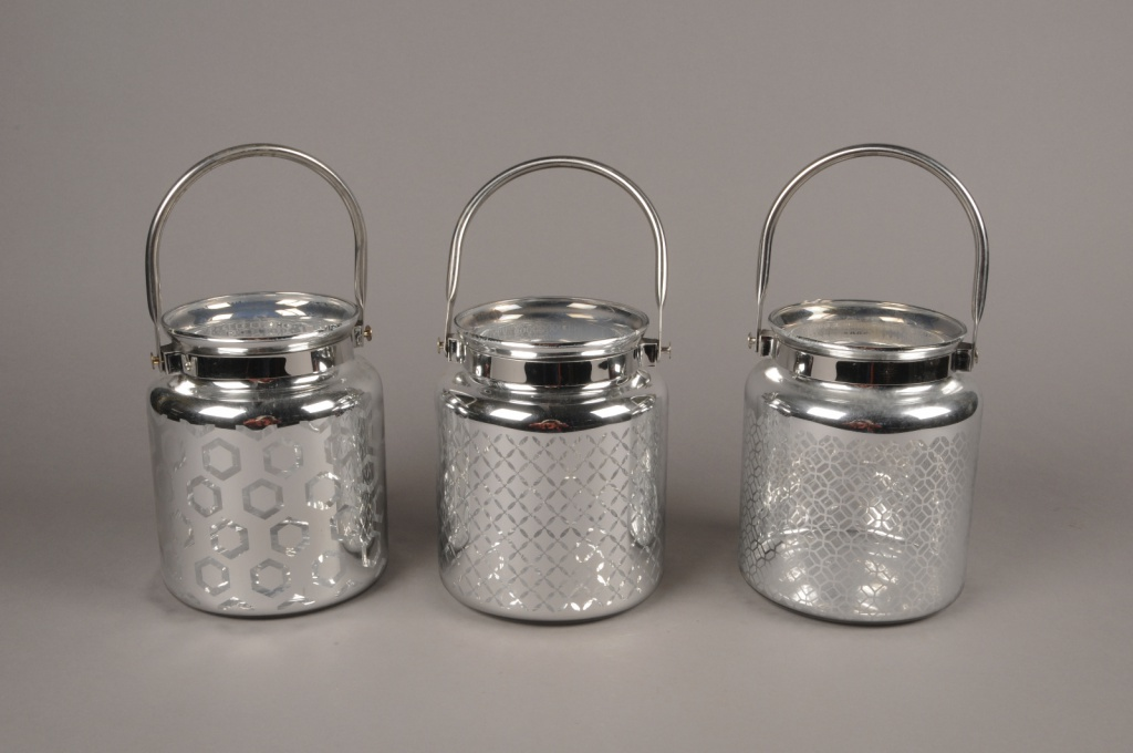 A016G9 Silver glass lantern D14cm H17cm