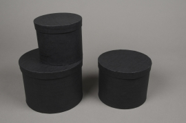 A016K1 Set de 3 boîtes en carton noir D18cm H13cm