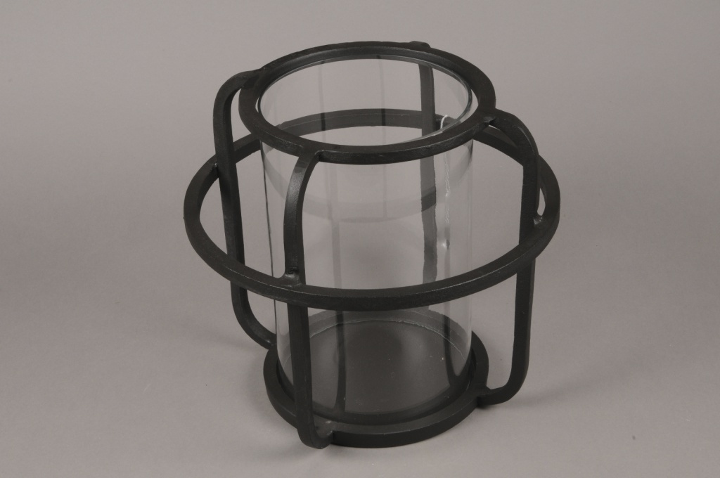 A016KU Black metal light holder D30cm H28cm