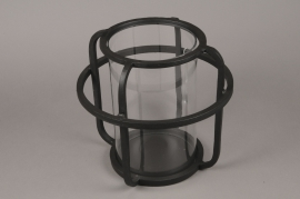 A016KU Photophore en métal noir D30cm H28cm