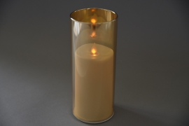 A016O7 Amber glass tealight Led candle D8cm H20cm
