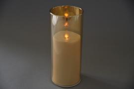 A016O7 Photophore ambre bougie LED D8cm H20cm