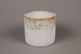 A016OZ Cache-pot en céramique blanc D15cm H13.5cm