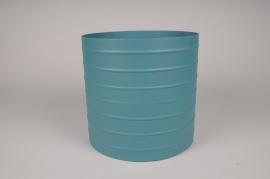 A016U9 Blue metal planter D25cm H24.5cm