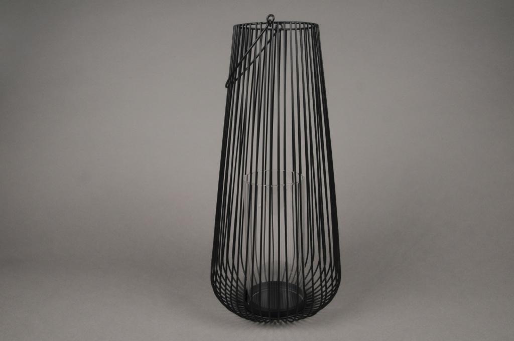 A016UO Photophore en métal noir D20cm H36cm