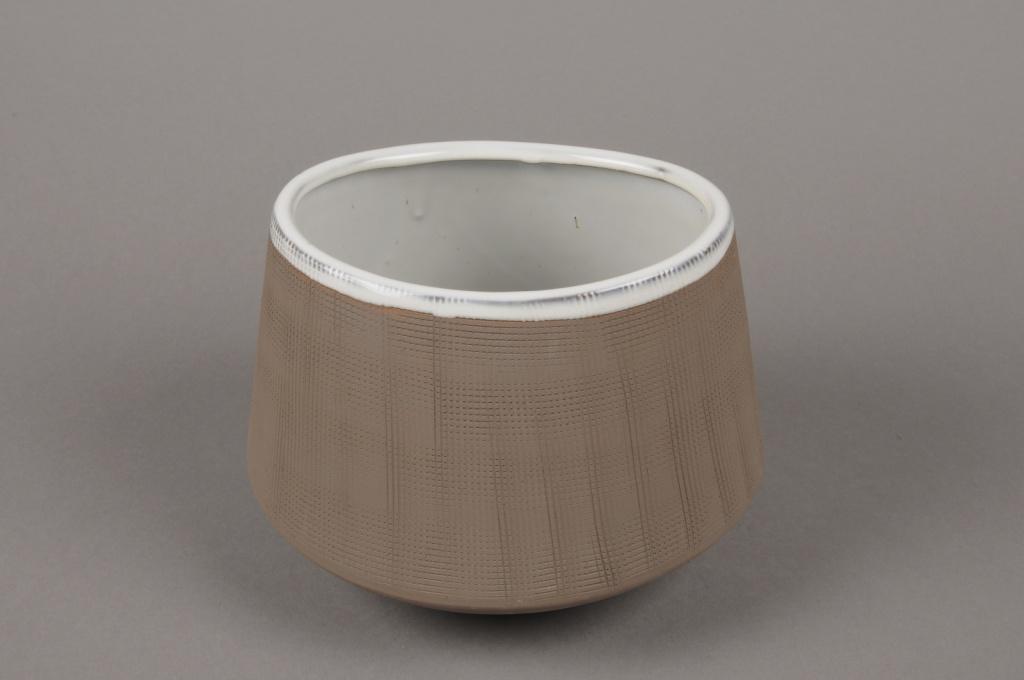 A016W5 Cache-pot en grès taupe D20cm H16cm