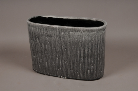 A016W6 Grey ceramic planter 42x18cm H28cm