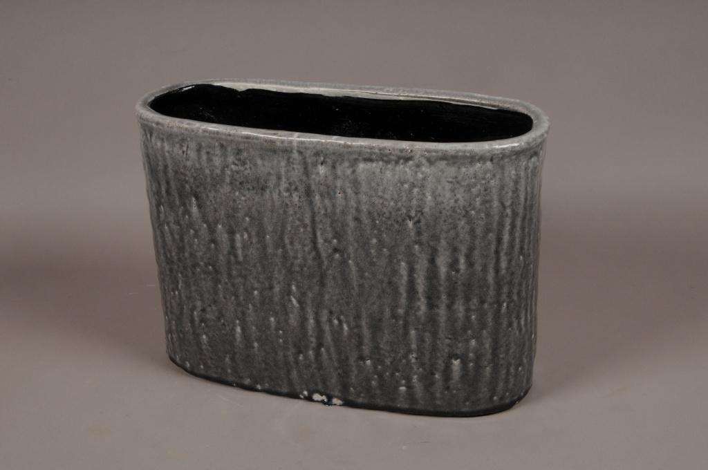 A016W6 Jardinière en céramique gris 42x18cm H28cm