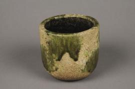 Green ceramic planter D12cm H11cm