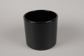 A017A8 Cache-pot en céramique noir D23cm H22cm