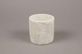 A017AC Cache-pot en béton feuillage blanc D10cm H11cm
