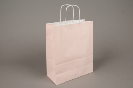 A017AS Paquet de 25 sacs kraft rose 22cm x 10cm H27cm