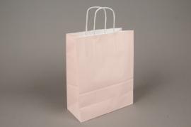 A017AS Paquet de 25 sacs kraft rose 22cm x 10cm H27cm