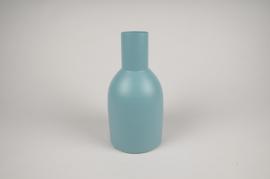 A017CC Vase en métal bleu D13cm H26cm