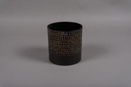A017E5 Black metal vase D15.5cm H15.5cm