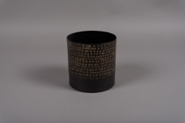 A017E5 Pot en métal noir D15.5cm H15.5cm