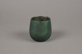 A017G2 Emerald glass candle jar D10cm H10cm
