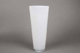 A017I0 Vase en verre conique blanc D18cm H43cm
