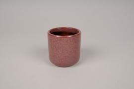 A017J6 Cache-pot en céramique rouge D7cm H7cm