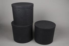 A017K1 Set de 3 boîtes en carton noir D27cm H27.5cm