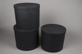 A017K1 Set of 3 cardboard box black D27cm H27.5cm