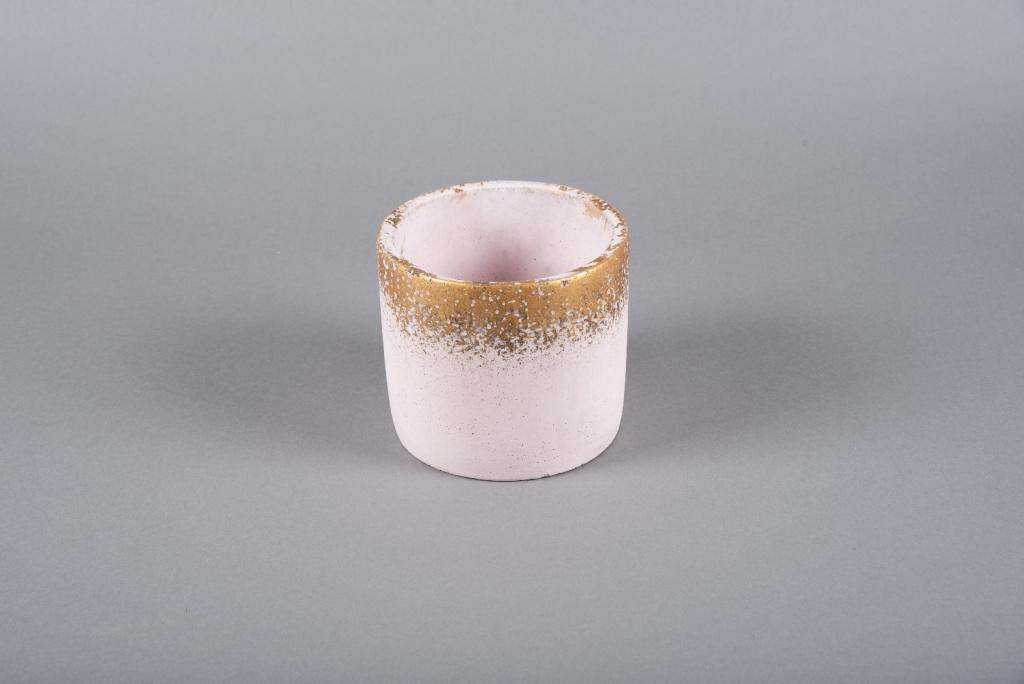 A017OZ Cache-pot en céramique rose D15cm H13cm