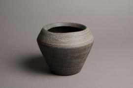 A017T3 Cache-pot céramique évasé taupe D17cm H14cm