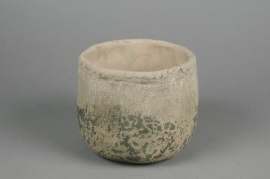 A017U7 Cache-pot en béton taupe D15cm H13cm