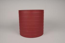 A017U9 Cache-pot en métal rouge D25cm H24.5cm