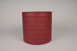 A017U9 Red metal planter D25cm H24.5cm