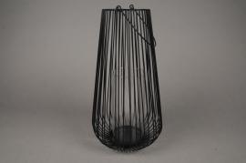 A017UO Photophore en métal noir D21cm H45cm